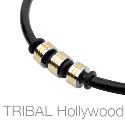 THE BEE STINGER Black Rubber Necklace with Gold Striped Stainless Steel Beads