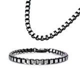 IMPERIUS CHAIN Black and Steel Rounded Box Link Chain for Men