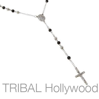 Rosary Mens Chain REDEMPTION Y Necklace with Black Steel Beads and Crucifix