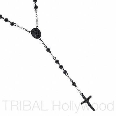 RELIGION Gunmetal Beaded Rosary and Cross Stainless Steel Y Necklace