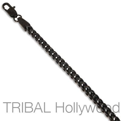 REBEL BLACK Stainless Steel Mens Franco Chain