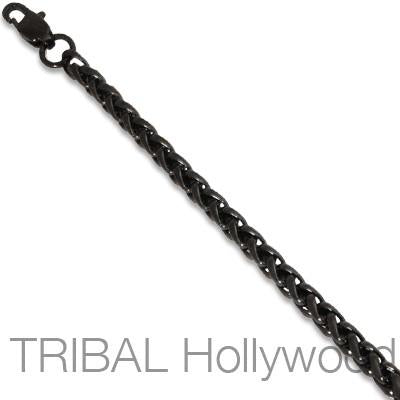 HAZE Black Stainless Steel Mens Round Wheat Chain