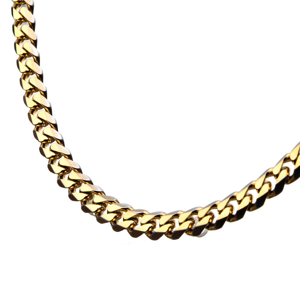 GOLD ENVY CHAIN Flat Curb Link Gold Steel Mens Necklace Chain