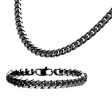 DARK ENVY CHAIN Black Steel Flat Curb Link Necklace Chain for Men