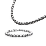 TUMBLER CHAIN Hammered Steel Round Box Link Mens Necklace Chain