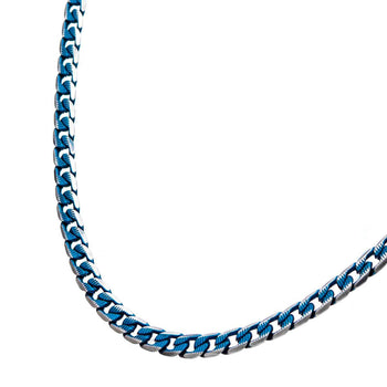 BLUE EON CHAIN Blue Tinted Steel Flat Curb Link Chain for Men