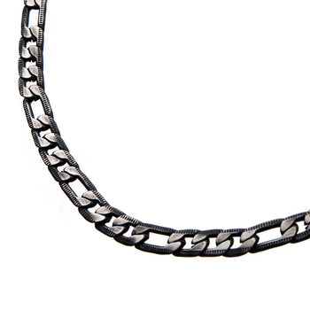BLACK EON CHAIN Black Steel Flat Figaro Link Chain for Men