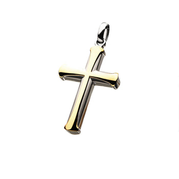 APOSTLE CROSS GOLD Steel Cross Chain Pendant for Men