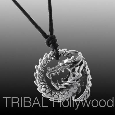 TATSU Coiling Dragon Stainless Steel Men's Pendant Necklace