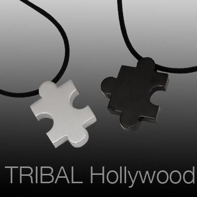 JIGSAW PUZZLE Piece Matching Pair Pendant Necklaces