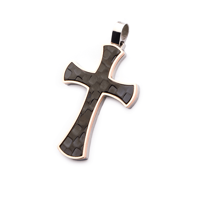 TRI-TONE CROSS Hammered Black Steel Mens Chain Pendant with Gold PVD