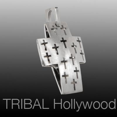 HOLY CROSS Two Layer Cut Out Hollow Cross Mens Necklace Pendant