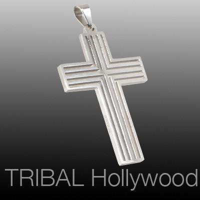 ANOINTED CROSS Grooved Mens Necklace Pendant in Stainless Steel