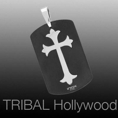 DARK TEMPLAR CROSS DOG TAG Black Stainless Steel Necklace Pendant