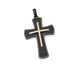 STRATIFIED CROSS Layered Black and Rose Gold Steel Mens Chain Pendant