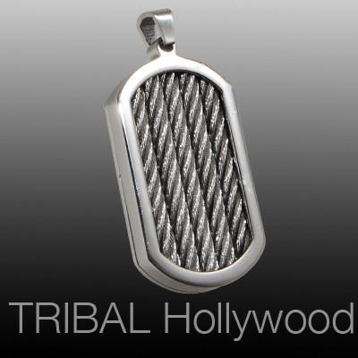 BLITZKRIEG DOG TAG Braided Cable Stainless Steel Mens Pendant