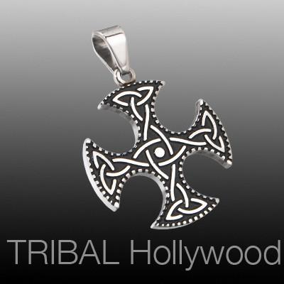 GAELIC CROSS Stainless Steel Celtic Knot Necklace Pendant