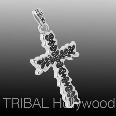 VINE CROSS Stainless Steel Speckled Tribal Mens Cross Pendant