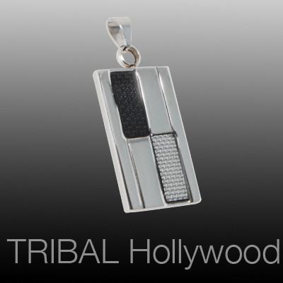 Mens Necklace Pendant CYBORG DOGTAG with Black and Silver Carbon Fiber | Tribal Hollywood