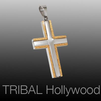PRINCE CROSS Natural and Gold Stainless Steel Mens Cross Pendant