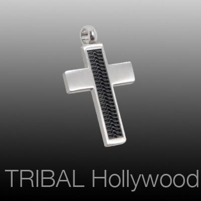 NEW WAVE CROSS Black Rubber and Steel Modern Mens Cross Pendant