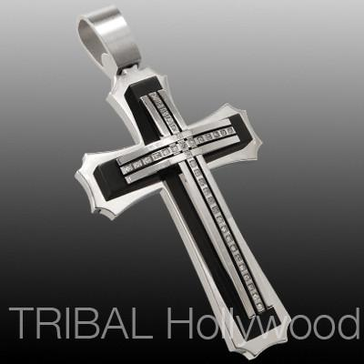 ORACLE MEGA CROSS Stainless Steel Black PVD pendant with Cubic Zirconia