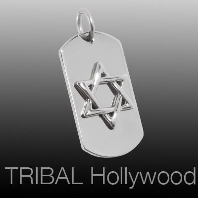 STAR OF DAVID DOG TAG Mens Necklace Pendant in Shiny Stainless Steel