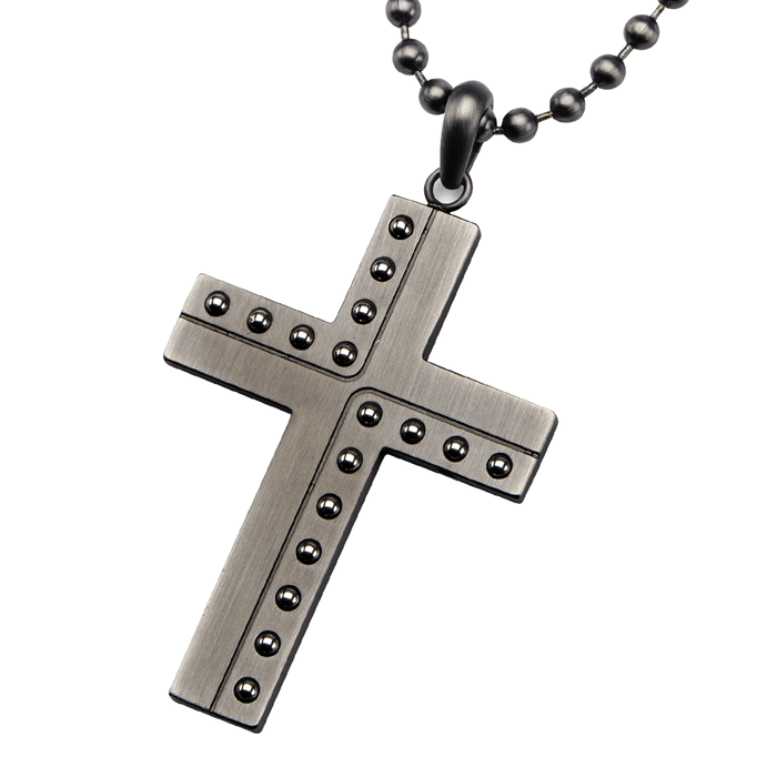WELDER CROSS Riveted Gunmetal Steel Design Pendant Chain for Men