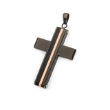 DIVIDED CROSS Black and Rose Gold Steel Chain Pendant for Men