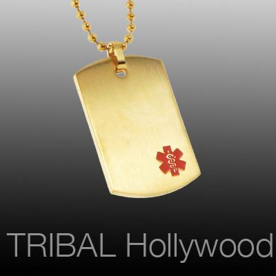 Dog Tag Necklace for Men MED ID GOLD Engravable Stainless Steel | Tribal Hollywood