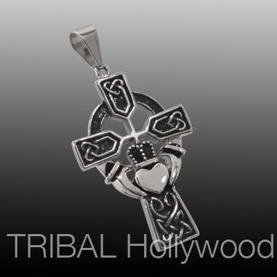 CLADDAGH CROSS Stainless Steel Celtic Necklace Pendant