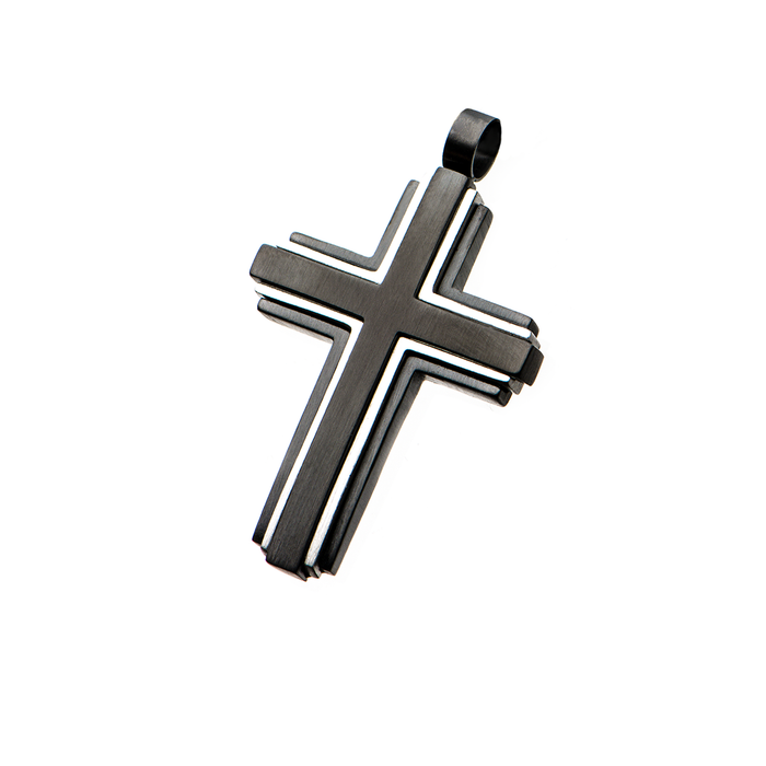 MOUNTED CROSS Black and Stainless Steel Framed Chain Pendant for Men