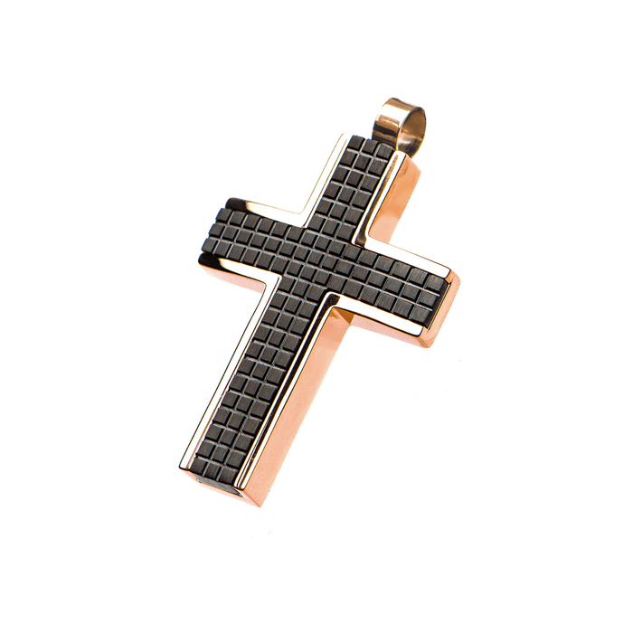 GRIDWORK CROSS Black Steel Patterned Chain Pendant and Rose Gold Frame