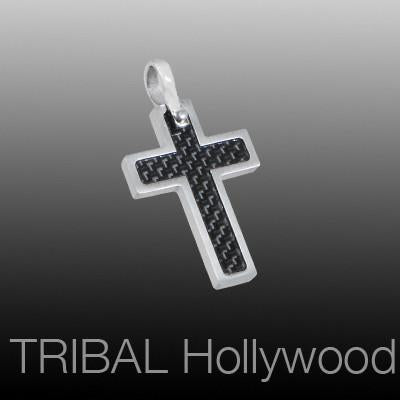 HALLOWED CROSS Small Black Carbon Fiber and Steel Mens Cross Pendant