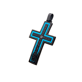 BLUE SPARK Blue and Hammered Black Steel Cross Chain Pendant for Men