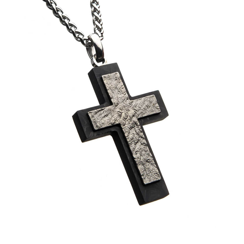 CALCIFIED CROSS Steel and Black Carbon Fiber Pendant Chain for Men