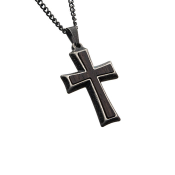 MOUNTED CROSS BLACK Stainless Steel and Antique Steel Mens Necklace