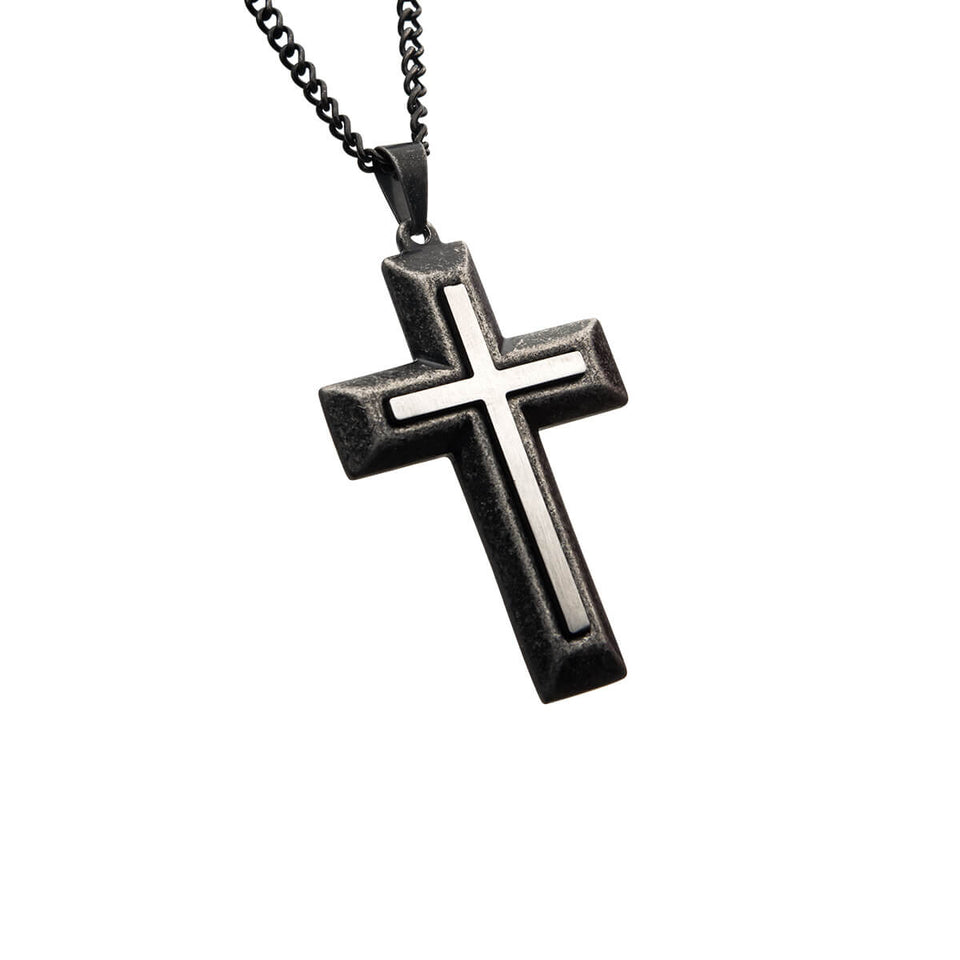 MOUNTED CROSS Stainless Steel and Antique Steel Mens Chain Necklace