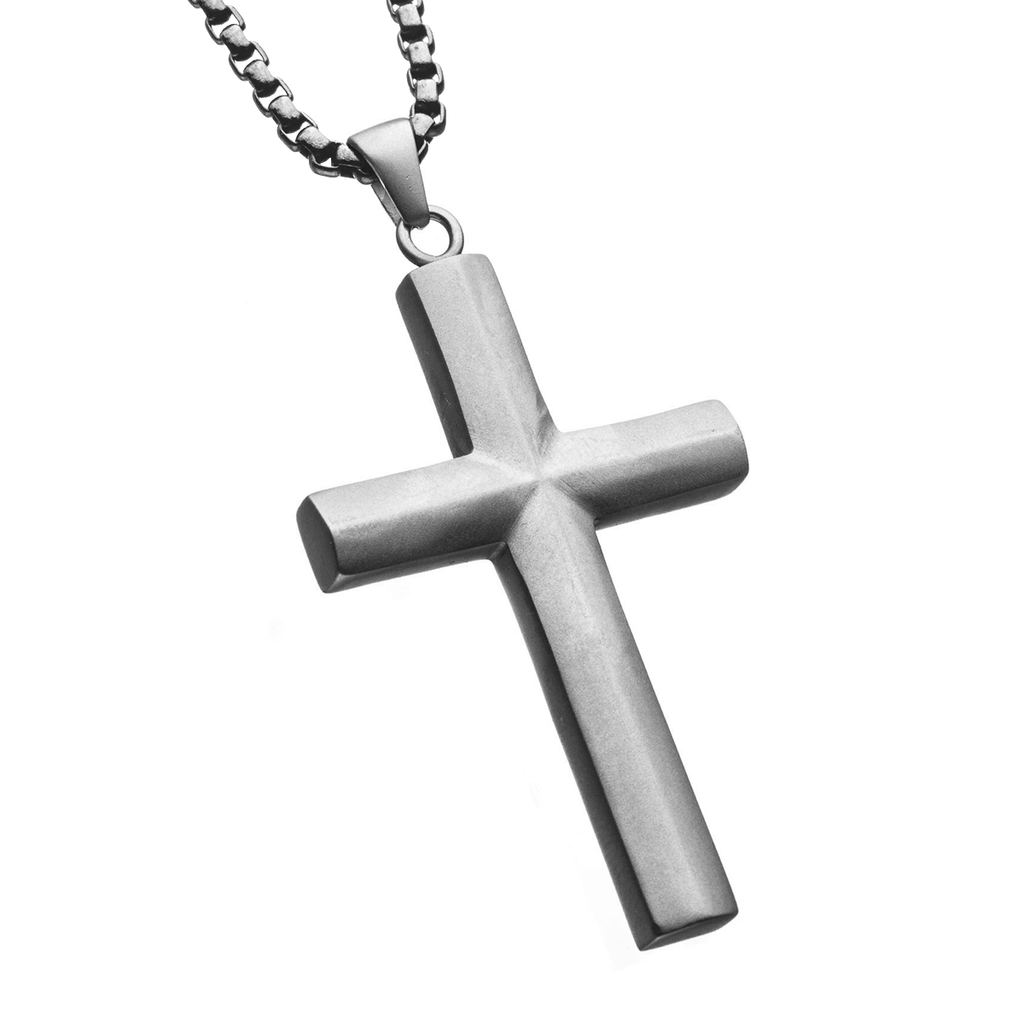 63e63fd83e4b7 VICAR CROSS Stainless Steel Pendant Chain Cross Necklace for Men
