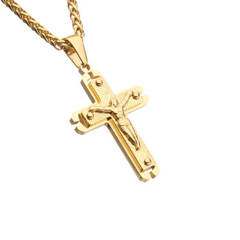 MISSIONARY Modern Crucifix Cross Pendant Chain in Gold Steel
