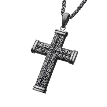MONUMENT CROSS Antique Gunmetal Steel Pendant Chain with Black CZ Stones