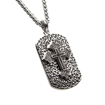 BAROQUE DOG TAG Cross Steel Chain Necklace for Men with CZ Stones