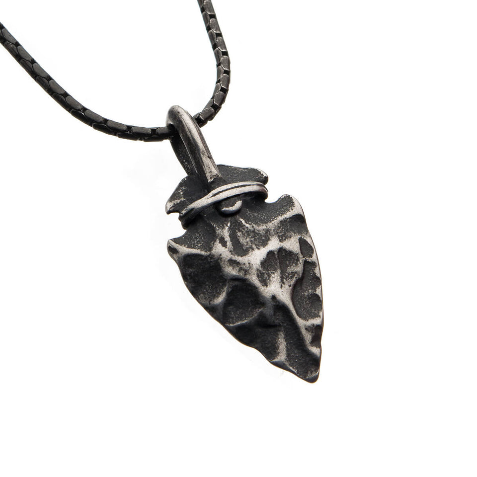 REMNANT Arrowhead Pendant Chain in Hammered Antique Gunmetal Steel