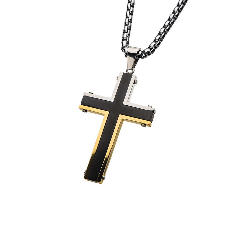 GOLDFOOT CROSS Mens Necklace Pendant Chain in Black and Gold PVD Steel