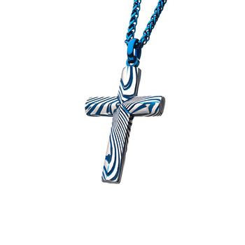 BLUE STRIPE CROSS Damascus Steel Cross Pendant Chain with Blue Steel