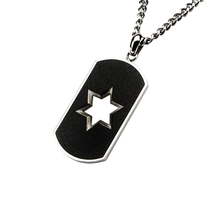 DAVID DOGTAG Black Steel Dogtag Mens Pendant Chain with Star of David