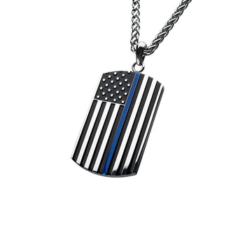 THIN BLUE LINE American Flag Dog Tag Necklace in Stainless Steel