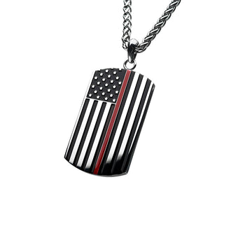 THIN RED LINE American Flag Dog Tag Necklace in Stainless Steel