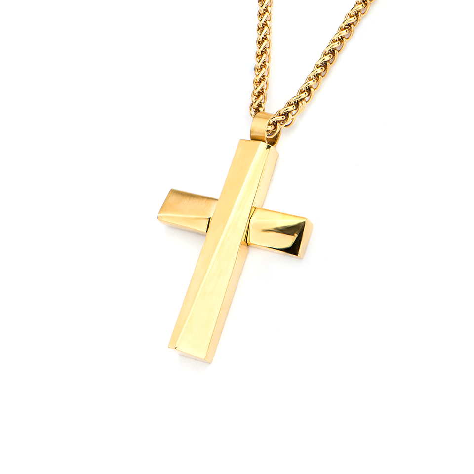 OBLIQUE GOLD CROSS NECKLACE Modern Architecture Style Pendant Chain