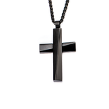 OBLIQUE BLACK CROSS NECKLACE Modern Architecture Style Pendant Chain